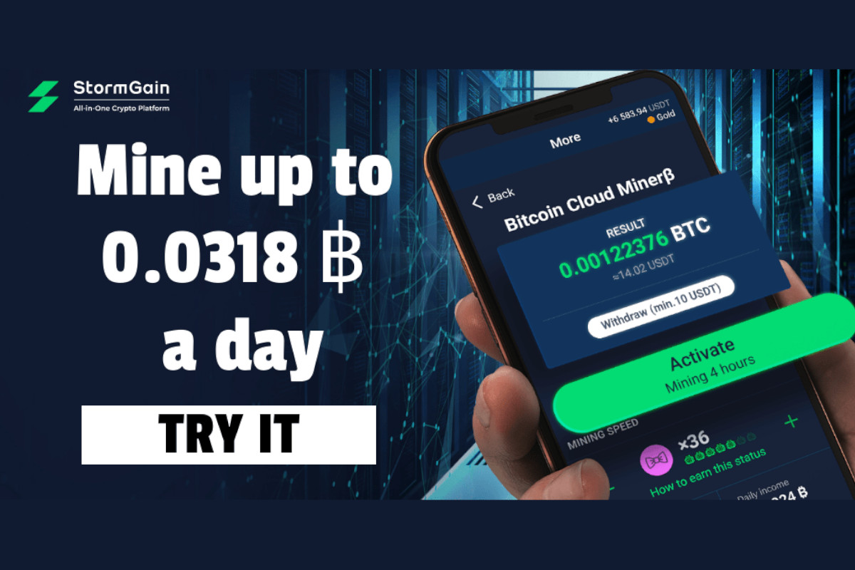 StormGain Levels Crypto Mining Playing Field to Billions of Smartphone Users
